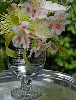 Silver Striped Vase 6.5in