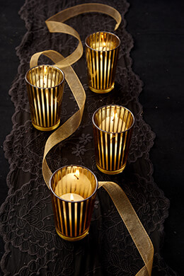 Striped Votive Holder Gold 4in (Pack of 4)