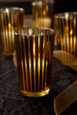 4 Gold Striped Votive Candle Holders 4""
