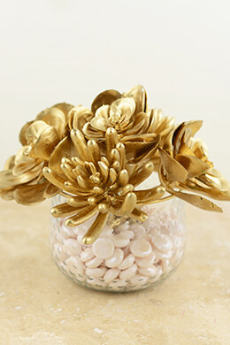 6 Metallic Gold Succulents Floral Picks 6.5""