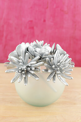6 Metallic Silver Succulent Picks 6.5""