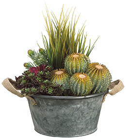 Succulents and Grass in Metal Pot