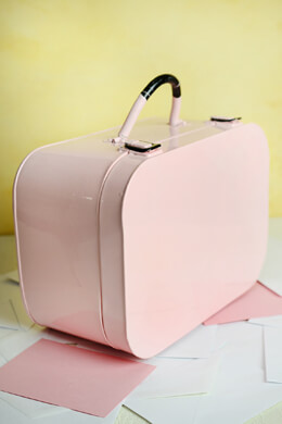 Pink Metal Train Case  6x8x12