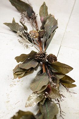 Taupe Magnolia & Pinecone Holiday Swag  50""