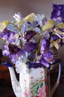 Silk Flowers, Sweet Pea Flower Bundle 20in