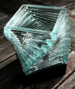 Stacked Glass Helix Candle Holder 4in x 5.5in