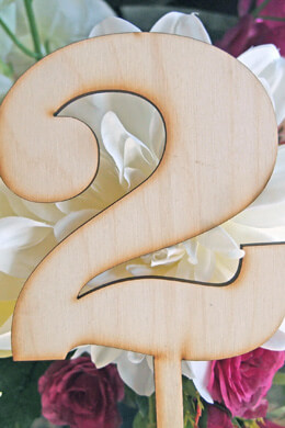 "Wood Table Number 2 on Stick  10"" tall"