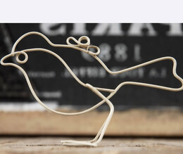 Table Number Holders White Wire Bird 4.5 x 3 (set of 6)