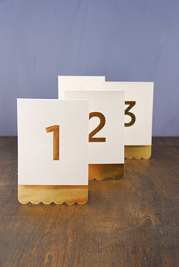 Table Numbers Gold Foil 1-24