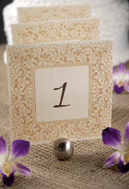 Table Numbers Ivory & Gold Laser Cut Ivy Border 1-10 (10 cards)