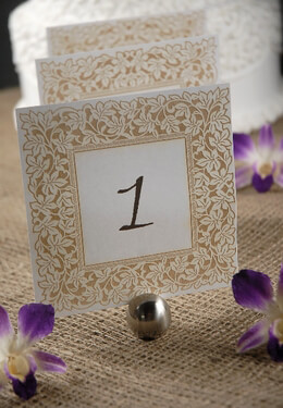 Table Numbers White & Gold Laser Cut Ivy Border 1-10 (10 cards)
