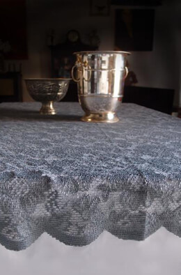 Tablecloth Floral Lace Square 54in Pewter Gray