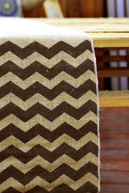 Burlap with Black Chevron Table Runner 12 x 108