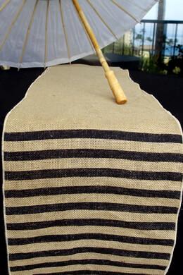 Burlap Black Stripe Table Runner