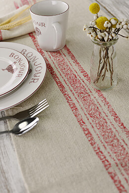 Table Runner Feed Sack Red Stripe 14x72