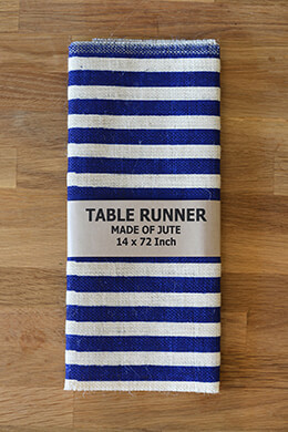 Ivory & Blue Striped Burlap Table Runner 14x72