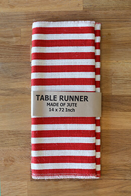 Ivory and Red Striped Burlap Table Runner 14x72