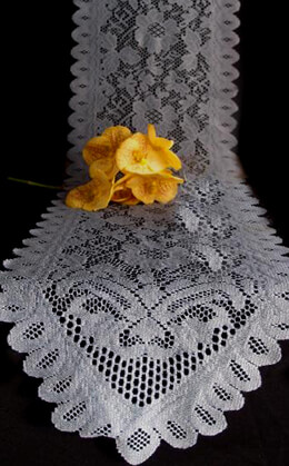 Floral Lace Table Runner Pewter Gray  18x96in