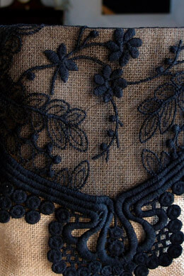 Black Lace & Tulle Embroidered Table Runner Black 12in x 74in