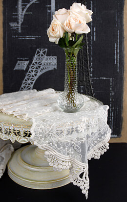 "Lace Table Runner Ivory 12"" x 74"""
