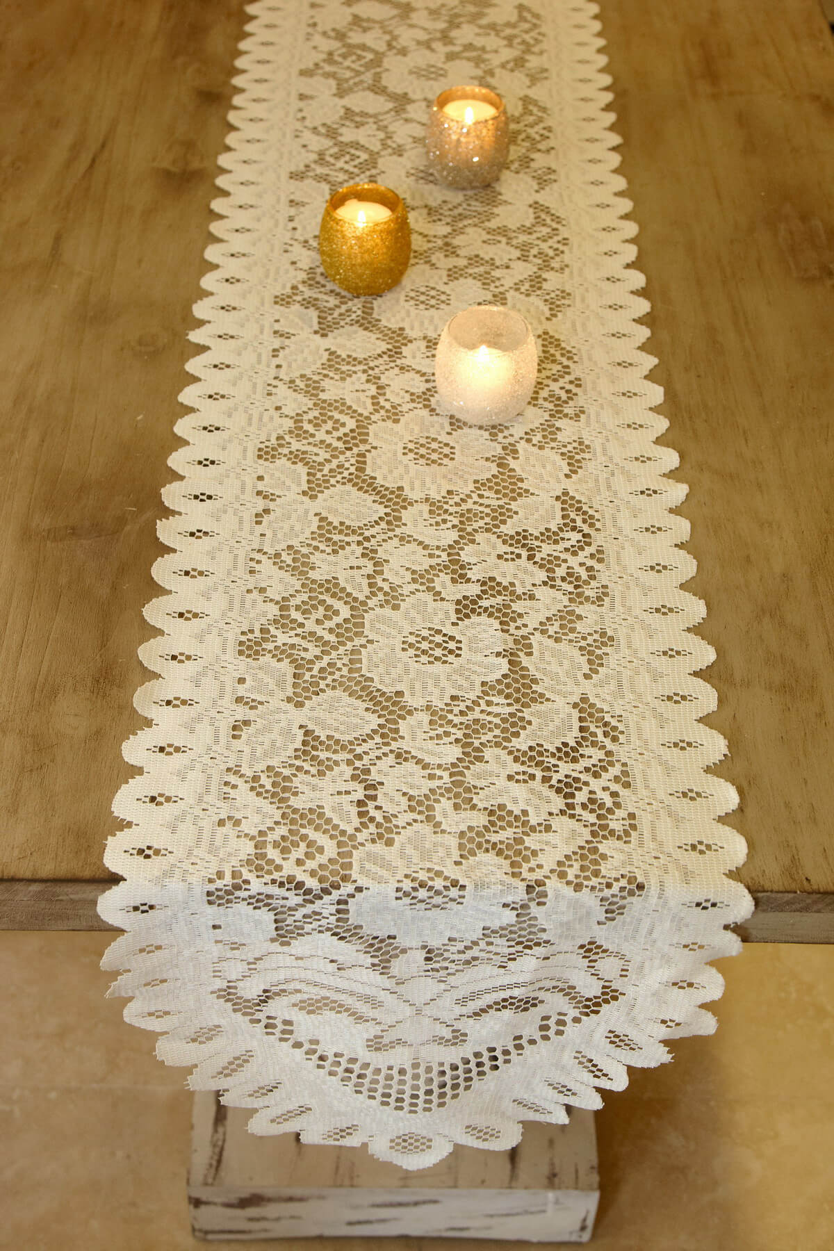 Table runner lace ivory 13 x 120in for 120 table runners