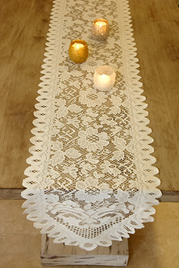 Table Runner Lace Ivory 13 x 120in