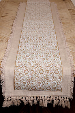Table Runner Linen Lace Print 10in x 9ft