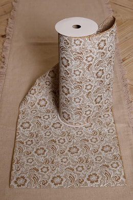 Table Runner Linen &  Lace Print 10in x 9ft