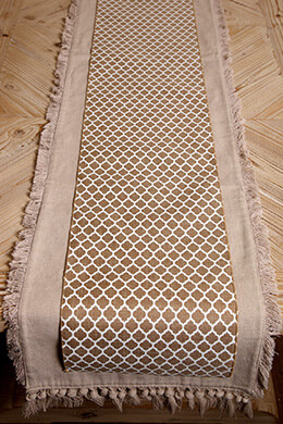 Table Runner Linen Quatrefoil 10in x 9ft