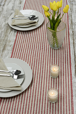 Table Runner Red Stripes 14x72in
