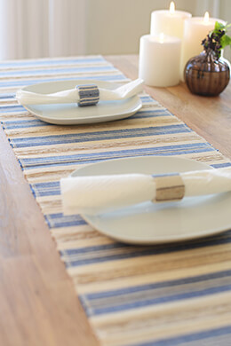 Cotton and Fragrant Root Blue & Natural Table Runner 14 x 72