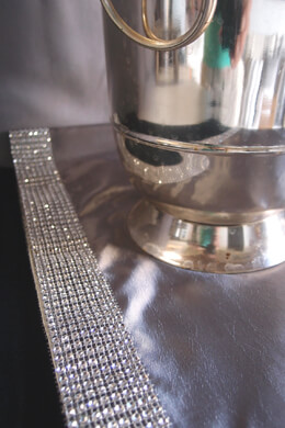 Diamond Mesh Trimmed Silver Satin Table Runner  14x72in