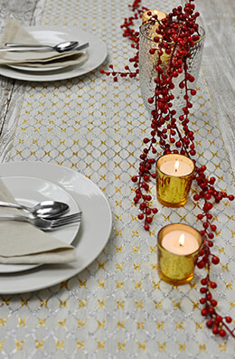 Table Runner Silver Gold Lattice 14x72in