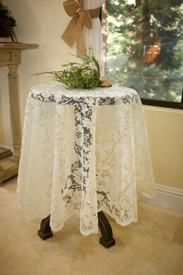 Tablecloth Lace Round Ivory 60in