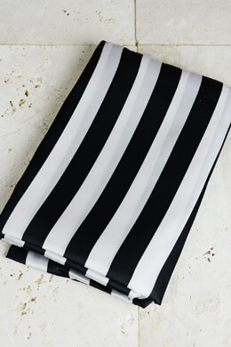 Square Black & White Striped 84 x 84 Satin Tablecloth