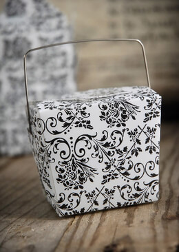 12 Tiny Take Out Boxes White & Black Damask