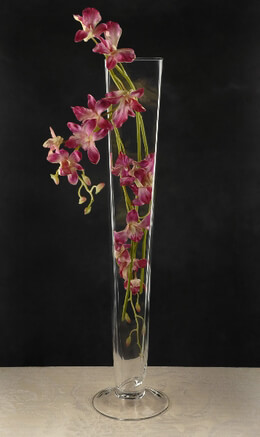 """Tall 23.5"""" Glass Pedestal Vase with square top"""