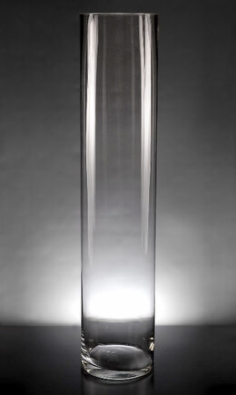 Tall Clear Glass Cylinder Vase 24in