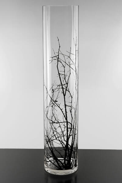 Tall Tree & Bird Cylinder Vase