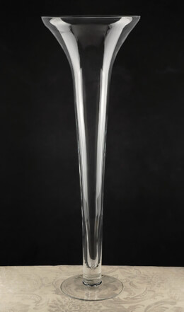 Trumpet Vase 27 Inch Tall Clear Glass