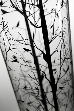 "Tall Vases Tree & Bird Silhouette 30"" Cylinder Vase"