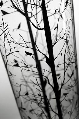 "Tall Vases Tree & Bird Silhouette 30"" Cylinder Vase"