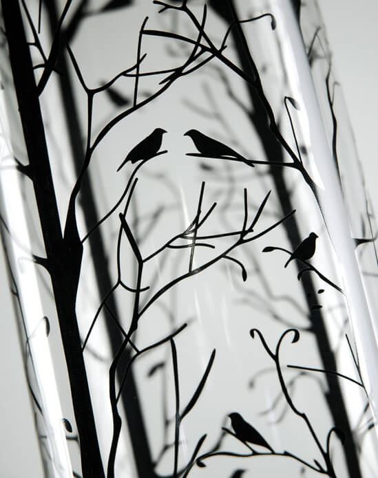 "24"" Bird &  Branch Silhouette Glass Cylinder Vase"