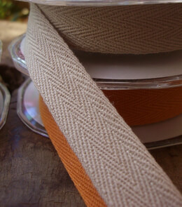 "Tan Cotton Twill Ribbon 3/4"" width 9 yards"