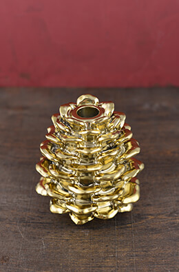 Taper Holder Pine Cone Gold