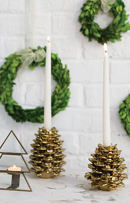 Gold Ceramic Pinecone Taper Candle Holder