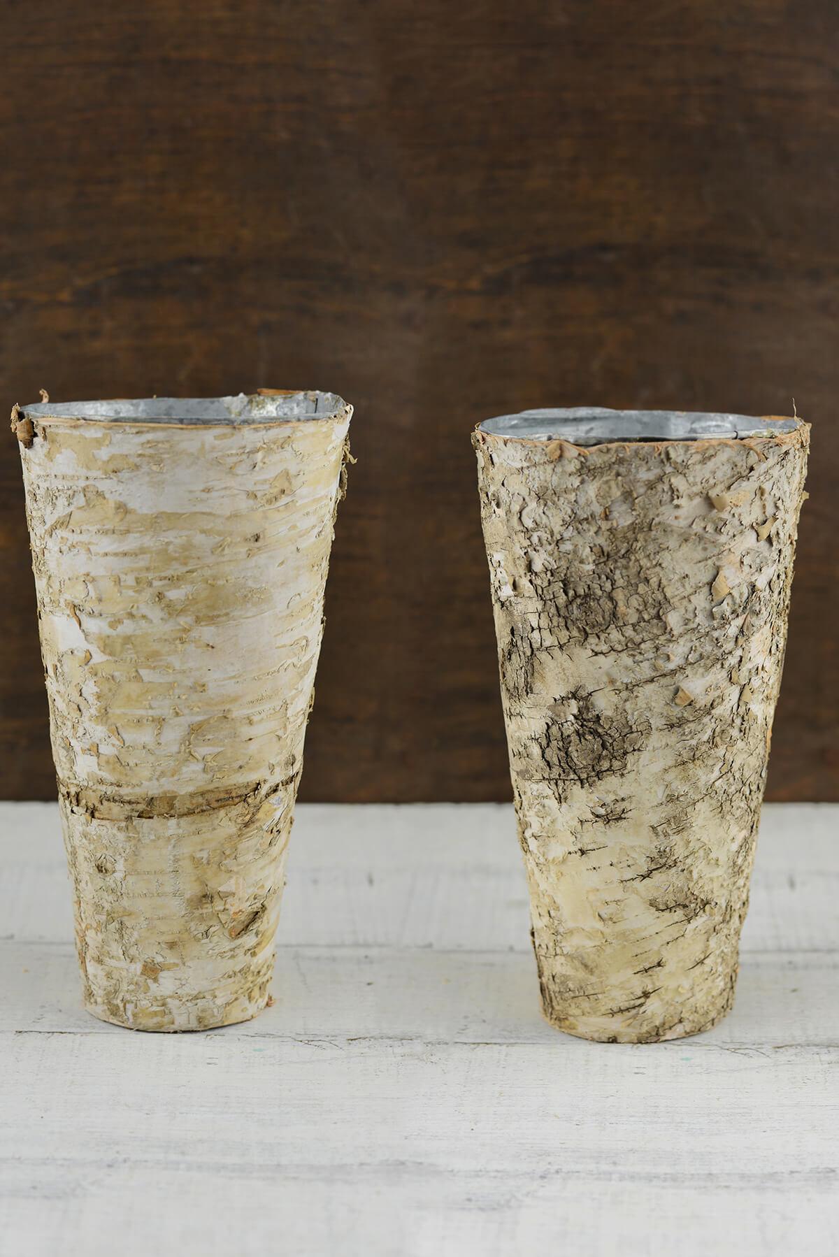 "Birch Vases 9"" Bark Covered Zinc Vase"