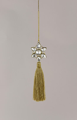 "Gold 7.5"" Crystal Star Tassel Decoration"