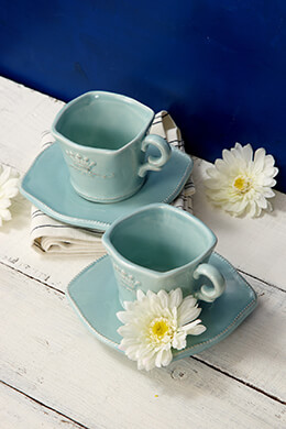 Tea Cup and Saucer Blue
