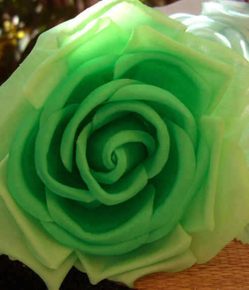 Tea Roses Lime Green Silk Vintage Flower